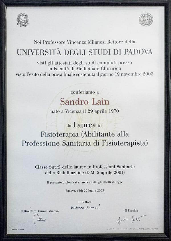 Laurea Dr Sandro Lain